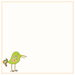Decorative frame with hand-drawn and painted a funny bird.  Vector graphics.