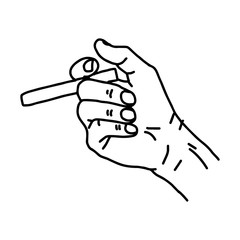 illustration vector hand drawn of  hand holding cigarette.