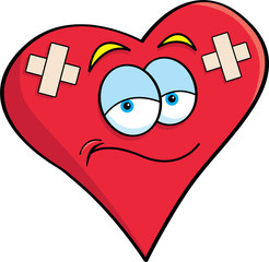 Cartoon illustration of a heart with bandages.