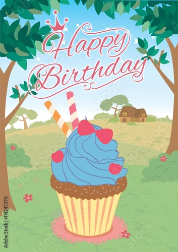 illustration vector of cupcakes in princess theme concept for happy