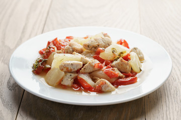 braised chicken fillet with squash and bell pepper