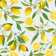 Seamless Pattern. Lemon Fruits Background. Floral Pattern.
