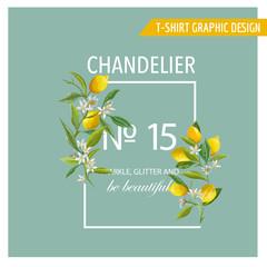 Lemon Fruits Graphic Design. T-Shirt Fashion Prints. Vector Background