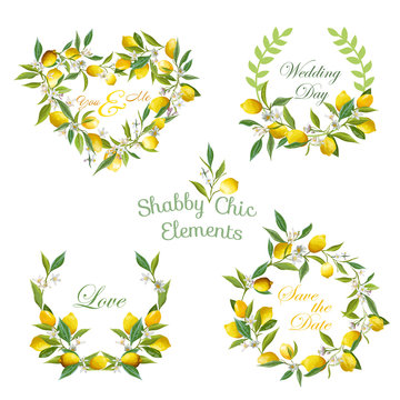 Lemons, Flowers, Leaves Banners and Tags. Floral Wreath. Vector