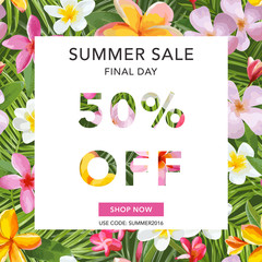 Summer Sale Banner. Sale Background. Tropical Background.