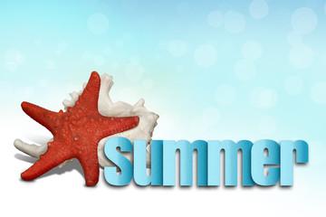 Lato - napis, rozgwiazda i muszla na plaży