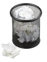 Full metal trash bin