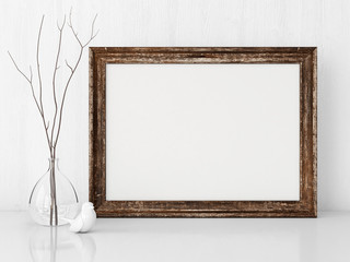 Vintage interior poster mock up with horizontal wooden empty frame.