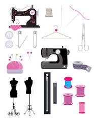 Sewing kit vector clipart.Minimalistic set of vector elements isolated and totally editable.Manequins,zipper,thread,scissors and other vector clipart tailoring elements
