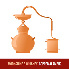 Moonshine and whiskey. Copper alambik
