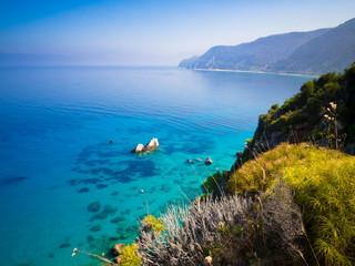 Calm sea at Agios Nikitas on Lefkada, Greece
