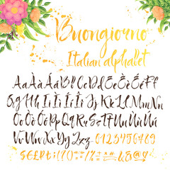 Calligraphic italian alphabet with decorations