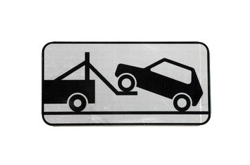 road sign of tow truck evacuator with reflective layer isolated