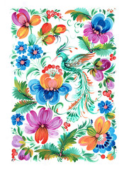 The Ukrainian decorative list. Flower composition with a bird on a white background.