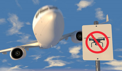 3D render of airliner and a no drone zone sign. Generic aircraft with no markings; lens flare, depth-of-field and motion blur for dramatic effect.