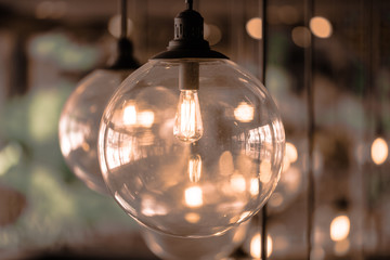 Beautiful luxury Retro edison light bulb decor glowing.