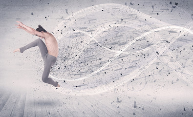Performance ballet dancer jumping with energy explosion particle
