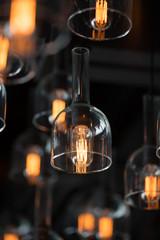 Beautiful luxury Retro edison light bulb decor glowing.