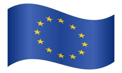 Flag of Europe, European Union, waving on white