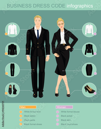 Business dress code infographics. Man and woman in official
