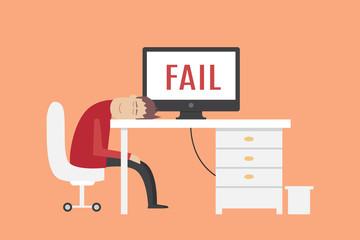 Man sleeping on workplace. fail vector illustration