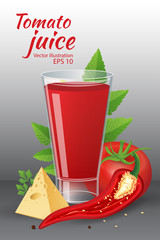 Glass of of tasty fresh tomato juice with red ripe tomatoes, green tomato leafs, cheese, hot chili pepper and parsley