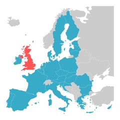Brexit theme map - map of Europe with highlighted EU member states and United Kingdom in different color. Vector illustration. Simplified map of European Union.