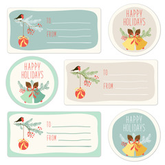 Cute hand drawn Christmas tags and labels with fir tree branches and thin hand written font