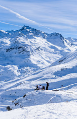 Skiers on the slopes of the ski resort of  Val Thorens. France