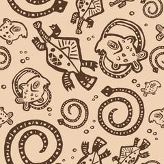 seamless texture African Injun folk style pattern brown