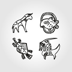 set African Injun folk style symbol monochrome cattle and waterf