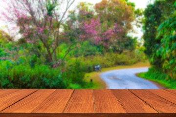 Wood table top on cherry blossom in Thailand. For display and montage products.