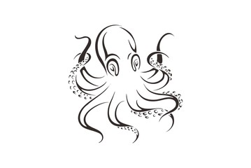 Octopus represented in the form of a tattoo.