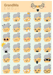 Grandma imoji icons , vector, illustration