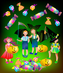 Illustration of happy children celebrating Halloween, vector cartoon image.