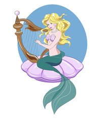 Mermaid and harp