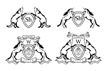 set of  Heraldry Unicorn and wolf logo