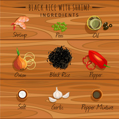 Black rice with shrimp. Food set on a wooden countertop.