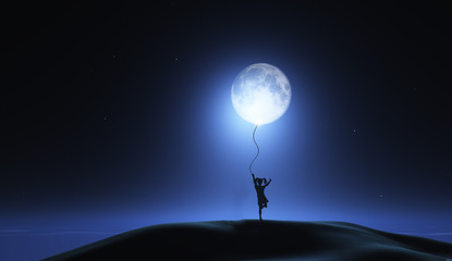 3D surreal image with girl holding moon as a balloon