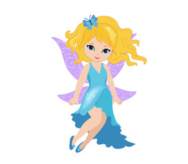 Illustration of a beautiful blue fairy in flight Isolated on white background.