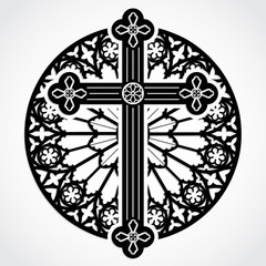 silhouette gothic cross on rose window circle