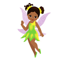 Illustration of a beautiful yellow green fairy in flight Isolated on white background.