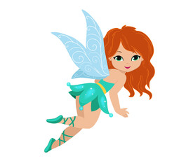 Illustration of a beautiful turquoise fairy in flight Isolated on white background.