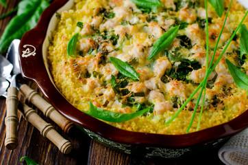 Casserole millet, spinach and chicken