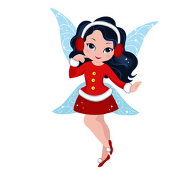 Illustration of a winter Christmas fairy in flight