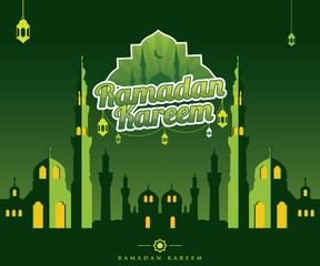 Silhouette mosque with green color style, vector illustration, Stylish with mosque for muslim community festival. Great for card, poster and banner