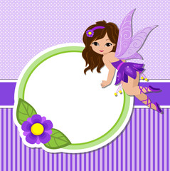 Illustration of a beautiful purple fairy in flight and frame with flowers