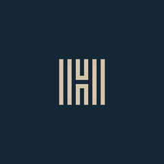 Unusual geometric letter H. Architecture vector logo. Isolated monogram.