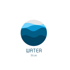 Isolated round shape logo. Blue color logotype. Flowing water image. Sea, ocean, river surface.