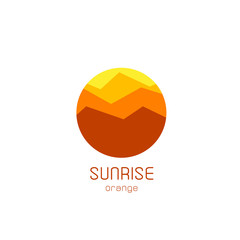 Isolated round sunrise vector logo. Mountains silhouette. Minimalistic evening sky.